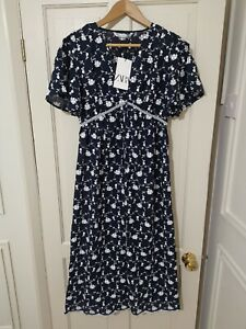 Zara Blue Embroidered Cutwork Voluminous Sleeve Ruffle Midi Dress Size XL BNWT