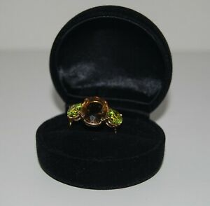 9 Ct Gold 3 Stone Citrine/Peridot Dress Ring