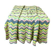 Handmade Crochet Knit Ripple Chevron Zig Zag Afghan Throw Blanket Multicoloured