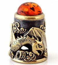 "Thimble Dragon Brass & Honey Baltic Amber Collectible Russian Souvenir 1 3/16"""