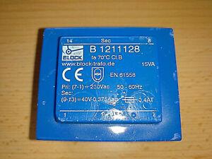 BLOCK Trafo Printtrafo 230 V  40 V  0,375 A  15 VA  Transformator B 1211128
