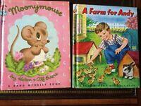 Rand McNally Elf Books,Moonymouse,Helen &Alf Evers  & A Farm for Andy, 1951,1958