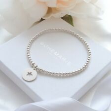 Sterling silver star coin charm bracelet, dainty beaded stacking jewellery