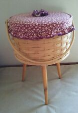 "VTG.WOVEN Sewing Basket With Wooden Legs & Handle17"" t x 11""d x 7""d"