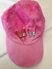 Cappellino rosa - con due farfalle e un fiorellino  - 56 cm - 100% cotone  USATO