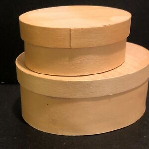 Small Oval Wood Nesting Boxes Crafts Gifts Set of 2