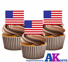 USA American Stars & Stripes Flag America - 12 Edible Cake Toppers Decorations