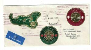 tonga stamps Airmail Cover 1967 Nukualofa Tonga Islands To UK Metallic Stamp