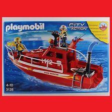 Playmobil 3128 Feuerlöschboot mit Pumpe Schiff Feuerwehr Feuerwehrboot City NEU