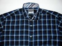 Thomas Dean Blue Plaid Long Sleeve Button Front Shirt Mens Size Large