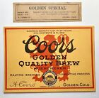 Vintage Prohibition Coors Muenchener Beer Label W Neck Adolph Coors Golden CO