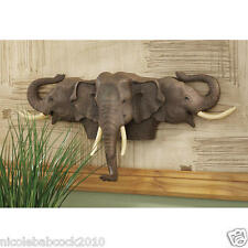 19 th century African 3  Elephant Heads w tusks sculpture wall trophy OF LUCK