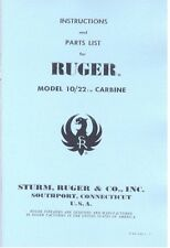 RUGER Model 10/22 Carbine Rifle Gun Owners Manual Handbook
