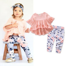 UK Stock Newborn Kids Baby girls T-shirt Tops +Long Pants Outfits Set Tracksuit
