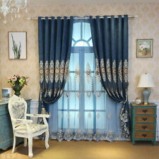 Blue Chenille Floral Embroidery Curtains Drape Living Room Bedroom Sheer Tulle