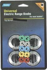 CAMCO 00883 UNIVERSAL SET 4 BLACK ELECTRIC TOP STOVE RANGE BURNER KNOBS 6838718