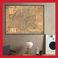 REPRO TOILE AFFICHE POSTER PHOTO CARTE ANCIENNE PLAN VILLE PARIS 1575 BELLEFORES