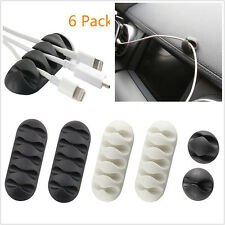 6pc 3 Size Cable Clips Holder Fastens Organizer System for Charger Cables Cords