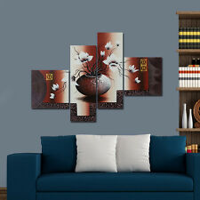 Abstract Hand Paint Canvas Oil Painting Wall Art Home Decor Flower Brown Framed