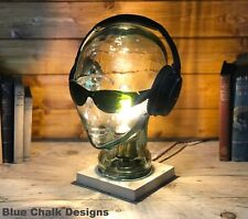 Mannequin Head Table / Desk Lamp, Choice of Wood Finish, Bedside Light, Decor