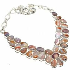 """Botswana Banded Agate Gemstone 925 Sterling Silver Necklace 18"""""""