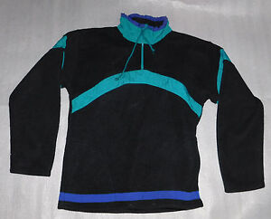Robinsons Womens Black Fleece 1/2 Zip Sweatshirt Drawstring Neck Blue Small