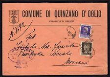 STORIA POSTALE Regno 1939 Lettera da Quinzano d'Oglio a Brescia (FMI) Bollo Muto