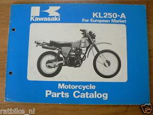KAWASAKI KL250-A MOTORCYCLE PARTS CATALOG 1980 ORIGINAL BOOK EUROPEAN MARKET