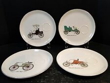 "Salem China Antique Car Snack Plates (Set of 4) 9 1/4"" Excellent"