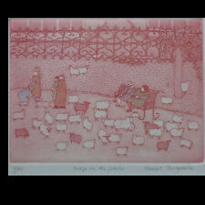 Harriet Brigdale, Sheep in the Park, limited edition 7/50 etching,
