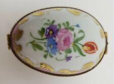 Limoges Hinged Egg trinket box floral