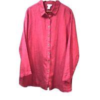 Soft Surroundings 2X Pink Linen Button down Tunic Top Blouse Lagenlook Plus