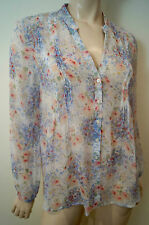 JOIE Cream Sheer Silk Multi Colour Floral Print Collarless Long Sleeve Blouse M