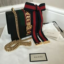 GUCCI BLACK LEATHER MINI SYLVIE CHAIN BAG RETAIL £1690 MADE IN ITALY