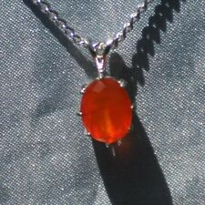 VERY NICE 10MM x 8MM OVAL ORANGE CARNELIAN STERLING SILVER PENDANT