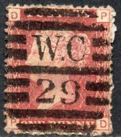 1869 Sg 43 1d rose-red 'PD' Plate 122 with London Duplex Cancellation Good Used