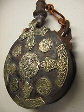 ANTIQUE MOROCCAN POWDER FLASK w Moroccan Silver Dirham Coin Decorations