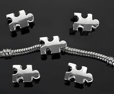 2PCs Autism Awareness Puzzle Piece Beads Charms For European Charm Bracelets