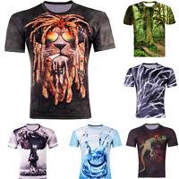 Neu Hot Herren Sommer multicolor 3D Tee Short Sleeve Hiphop Top T-shirt Gr.M-4XL