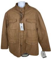 Rainforest Men's Faux Leather Brown Military Parka Jacket Size 2XL MSRP $250