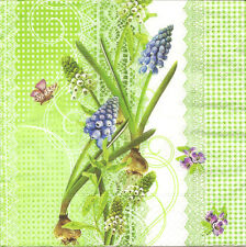 4 Solo Papel Servilletas Para Decoupage Muscari Flores Mariposa Encaje Verde