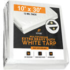 Heavy Duty White Poly Tarp 10' x 30' Multipurpose Protective Cover, 12 Mil thick
