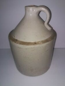 Clear Glaze Stoneware Whiskey Jug 13 Inches Height