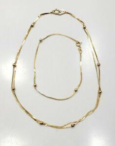 Beautiful Modern Estate 14k Yellow Gold Necklace And Bracelet Set