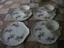(4) Japan China Moss Rose Pattern Snack Plates Pink Floral Tableware Flower  #2