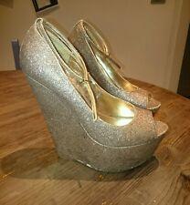 CARVELA by Kurt Geiger KG Gold Glitter Peep Toe Wedge Shoes Size 39 Uk 6 Heels