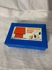 Vintage 1965 PEANUTS (SNOOPY & WOODCHUCK) Blue Pencil Cases Plastic Box EMPIRE