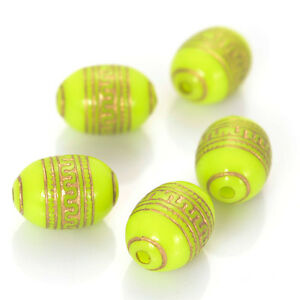 140 pcs Retro Etched Acrylic Barrel Antique Design Beads For DIY Jewelry Making