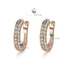 18k yellow gold gf made with SWAROVSKI crystal luxury huggies earrings