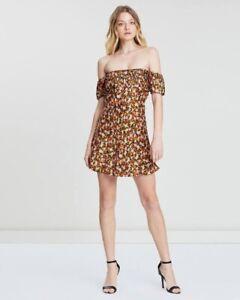 Bec And bridge Romantics Floral Printed Mini Off Shoulder Dress Size 8